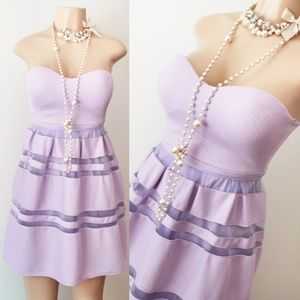 Lilac Lavender Pleated Mesh Stripe Strapless Dress